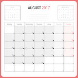 Calendar Planner for August 2017 Vector Design Template Stationary. Week Starts Monday Stock Photos