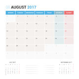 Calendar Planner for August 2017 Vector Design Template Stationary. Week Starts Monday stock illustration