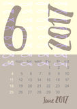 2017 Calendar planner in brown, gray and yellow colors Week starts on Sunday Stock Images