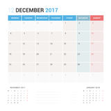 Calendar Planner for December 2017 Vector Design Template Stationary. Week Starts Monday Stock Photos