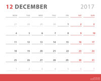 Calendar planner 2017 december, week starts monday, vector design template Stock Photography