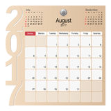 Calendar Planner Design August 2017. 2017 Calendar Planner Design, August 2017 year vector calendar design Royalty Free Stock Image