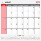 August 2018 Calendar Planner Design. 2018 Calendar Planner Design, August 2018 year vector calendar design Royalty Free Stock Photography