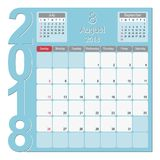 August 2018 Calendar Planner Design. 2018 Calendar Planner Design, August 2018 year vector calendar design Stock Photo