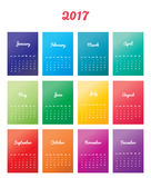 Calendar Planner Design. 2017 Calendar Planner Design. Color simple calendar Vector Illustration