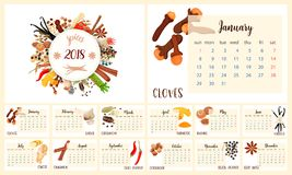 2018 Calendar Planner Design. Culinary spices. Cloves, garlic, turmeric, cardamom, vanilla, nutmeg cinnamon chili pepper coriander ginger black pepper star Stock Photo