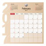 Calendar Planner Design February 2017. 2017 Calendar Planner Design, February 2017 year vector calendar design Stock Photo