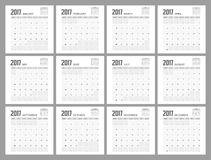2017 Calendar Planner Design. 2017  Calendar Planner Design of illustrator Royalty Free Stock Image