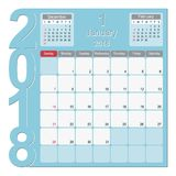 January 2018 Calendar Planner Design. 2018 Calendar Planner Design, January 2018 year  calendar design Stock Photography
