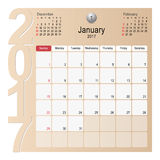 Calendar Planner Design January 2017. 2017 Calendar Planner Design, January 2017 year vector calendar design Stock Images