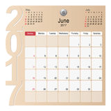 Calendar Planner Design June 2017 Royalty Free Stock Photo
