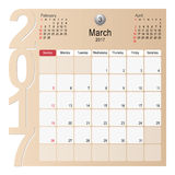 Calendar Planner Design March 2017 Royalty Free Stock Photography