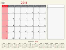 May 2018 Calendar Planner Design. 2018 Calendar Planner Design, May 2018 year  calendar design Royalty Free Stock Photography