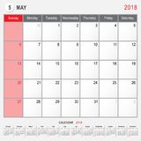 May 2018 Calendar Planner Design. 2018 Calendar Planner Design, May 2018 year vector calendar design Stock Images