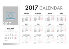 2017 Calendar Planner Design. For organization and business. Week Starts Monday. Simple Vector Template. EPS10 Royalty Free Stock Photos