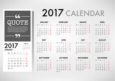 2017 Calendar Planner Design. For organization and business. Week Starts Monday. Simple Vector Template. EPS10 stock illustration