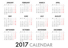 2017 Calendar Planner Design. For organization and business. Week Starts Monday. Simple Vector Template. EPS10 royalty free illustration