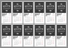 2017 Calendar Planner Design. For organization and business. Week Starts Monday. Simple Vector Template. EPS10 Stock Photo