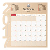 Calendar Planner Design September 2017. 2017 Calendar Planner Design, September 2017 year vector calendar design Royalty Free Stock Photo