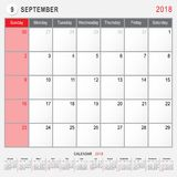 September 2018 Calendar Planner Design. 2018 Calendar Planner Design, September 2018 year vector calendar design Royalty Free Stock Photo