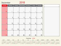 September 2018 Calendar Planner Design. 2018 Calendar Planner Design, September 2018 year vector calendar design Stock Photography