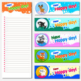 Calendar Planner 2018 Design Template with Replaceable banner. Illustration of cheerful animals. Children s theme. Royalty Free Stock Image