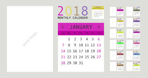 2018 Calendar Planner Design. Vector illustration Stock Photo
