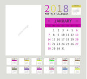 2018 Calendar Planner Design. Vector illustration Stock Images