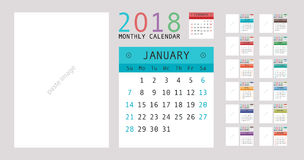 2018 Calendar Planner Design. Vector illustration Royalty Free Stock Photography