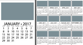 Calendar Planner Design. 2017 Calendar Planner Design. Vector template design monthly date illustration 2017 calendar week organizer simple number. Organizer Stock Photos