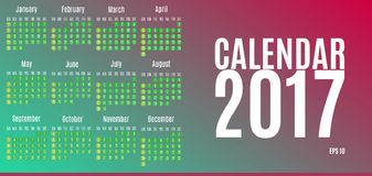 2017 Calendar Planner Design. Wall Monthly Calendar for the year. 2017. Calendar for Happy New year. All new 2017 year calendar. Colorful  calendar 2017 year Stock Images