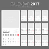 2017 Calendar Planner Design. Week starts Monday. Royalty Free Stock Photo