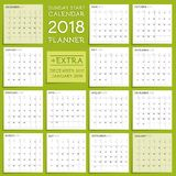 2018 calendar planner design week starts from sunday vector illustration