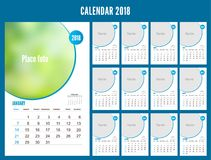 2018 Calendar planner design on white background. Set of 12 Mont. Hs. Vector template with place for photo. Week starts sunday. Portrait orientation Stock Photography