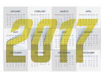 2017 Calendar Planner design. Yearly Calendar Planner design with creative big text 2017 Royalty Free Stock Image