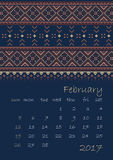 2017 Calendar planner with ethnic cross-stitch ornament on dark blue background Week starts on Sunday. Vector illustration. From collection of Balto-Slavic Royalty Free Stock Photo