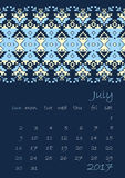 2017 Calendar planner with ethnic cross-stitch ornament on dark blue background Week starts on Sunday. Vector illustration. From collection of Balto-Slavic Stock Photo
