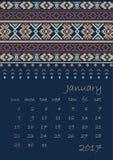 2017 Calendar planner with ethnic cross-stitch ornament on dark blue background Week starts on Sunday Royalty Free Stock Photos