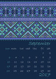 2017 Calendar planner with ethnic cross-stitch ornament on dark blue background Week starts on Sunday Royalty Free Stock Photography