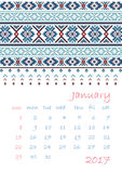 2017 Calendar planner with ethnic cross-stitch ornament Week starts on Sunday. Vector illustration. From collection of Balto-Slavic ornaments Royalty Free Stock Image