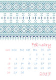 2017 Calendar planner with ethnic cross-stitch ornament Week starts on Sunday. Vector illustration. From collection of Balto-Slavic ornaments Royalty Free Illustration