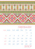 2017 Calendar planner with ethnic cross-stitch ornament Week starts on Sunday. Vector illustration. From collection of Balto-Slavic ornaments Stock Photography