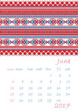 2017 Calendar planner with ethnic cross-stitch ornament Week starts on Sunday. Vector illustration. From collection of Balto-Slavic ornaments Royalty Free Stock Photos