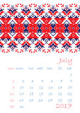 2017 Calendar planner with ethnic cross-stitch ornament Week starts on Sunday. Vector illustration. From collection of Balto-Slavic ornaments Royalty Free Stock Images