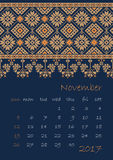 2017 Calendar planner with ethnic cross-stitch ornament Week starts on Sunday. Vector illustration. From collection of Balto-Slavic ornaments Stock Photos