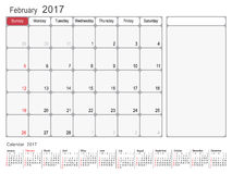 Calendar Planner February 2017 Stock Images
