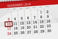 Free Calendar Planner For The Month November 2019, Deadline Day, 10, Sunday Royalty Free Stock Photo - 161020565