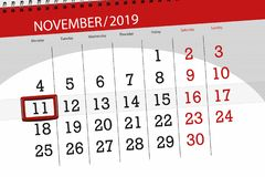 Free Calendar Planner For The Month November 2019, Deadline Day, 11, Monday Royalty Free Stock Image - 161022516