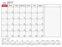 Calendar Planner July 2017. 2017 Calendar Planner Design, July 2017 year vector calendar design Stock Images