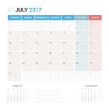 Calendar Planner for July 2017 Vector Design Template Stationary. Week Starts Monday Royalty Free Stock Photo